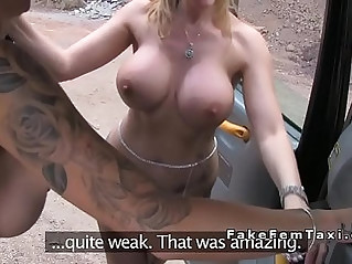 Huge round tits lesbians fucking in fake taxi