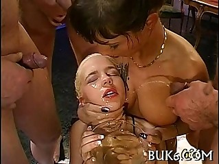 Lesbian babes receives group pissing