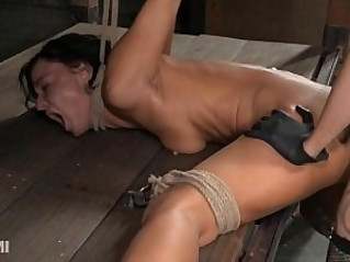 Contortionist gets double fucked in lezdom bondage