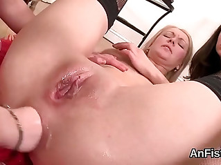 Unusual lesbo beauties are opening up and fisting anal holes