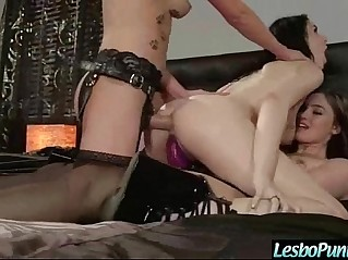 Lez With Dildo Use It To Punish Hot Lovely black beauty Girl