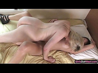 Amateur blonde and brunette lick each other