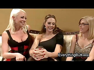 Babe gets anal mistreated by two lesbian babes
